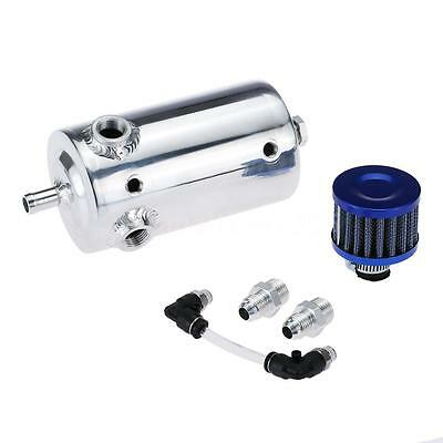 Universal 0.5L Auto Car Oil Reservoir Catch Can Tank Breather Filter Silver H3W8