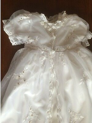 New Hand Finished Long White Girls Diamante Christening Dress Gown 3 6 9 12 18 m