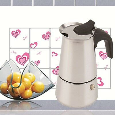 2/4/6-Cup Percolator Stove Top Coffee Maker Moka Espresso Latte Stainless Pot AU