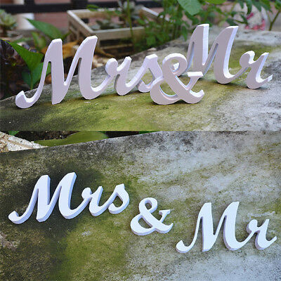 Mr and Mrs Sign Letters White Wooden Standing Top Table Wedding Decoration