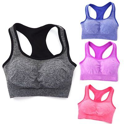 Women Seamless Sports Racerback Bra Yoga Fitness Stretch Workout Padded Tank Top