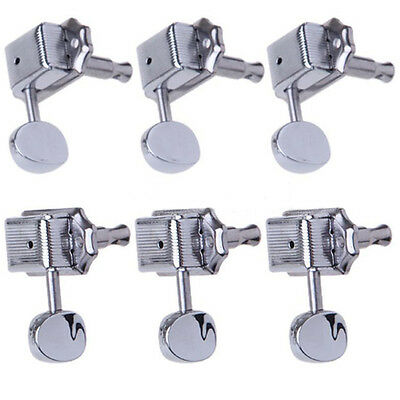 6 x Chrome Guitar String Tuning Pegs Tuners Machine Heads Electric Part Keys UK