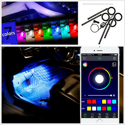 Wireless APP Control 4in1 Multi-Color 9LED Vehicles Glow Atmosphere Lights Lamps