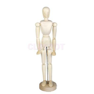 Wooden Body Artist Model Movable Figure Articulated Jointed Stand 11.81""