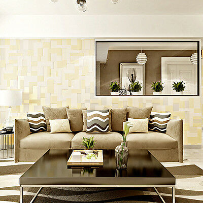 Modern Non-woven Embossed 3D Stereoscopic Mosaic Wallpaper Roll Beige Color 5.3㎡