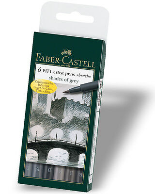 Faber Castell Artist Pitt Brush Pens GREYS Wallet Set of 6 Pens