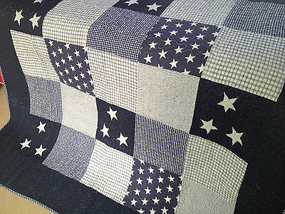 Throw Rug Lachlan Coastal Beach Nautical Stars Navy Patchwork  Linens n Things