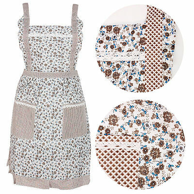 New Vintage Floral Apron Kitchen Cooking Pinny Lined Pocket Fancy Chefs Workwear