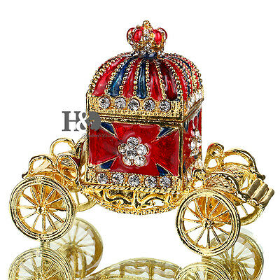 Handmade Crystal Crown Carriage Trinket Boxes Figurines Jewelry Wedding Gifts