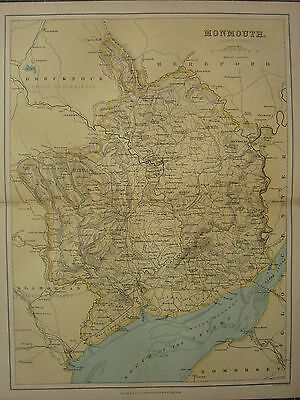 1875 Antique Wales Welsh County Map ~ Monmouth Abergavenny Newport Pontypool
