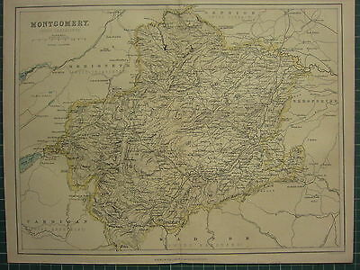 1875 Antique Wales Welsh County Map ~ Montgomery Llandfair Machynlleth Welshpool