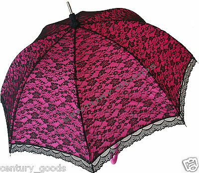 Retro Victorian Lace Bridal/wedding Umbrella  Parasol In Fuchsia/pink