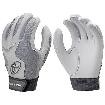 Rawlings Storm Women's Fastpitch Softball Batting Gloves - White - Large