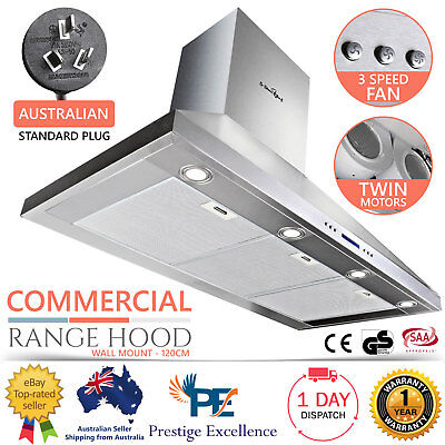 BBQ RANGEHOOD 1200 CANOPY COMMERCIAL RANGE HOOD KITCHEN STAINLESS 1200mm NEW 120
