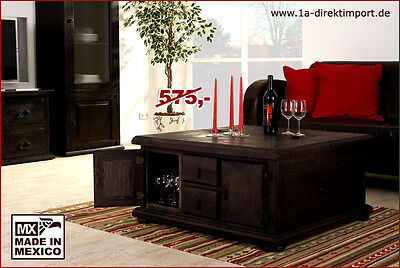 kolonialstil truhentisch couchtisch mexico kolonial pinie massiv schwarz braun eur 339 00. Black Bedroom Furniture Sets. Home Design Ideas
