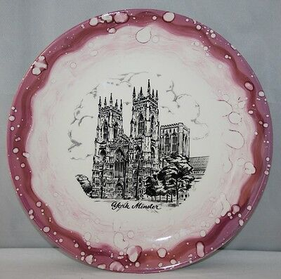 "Grays Pottery - 10"" Pink Lustre Plate - York Minster - c1950 - vgc"