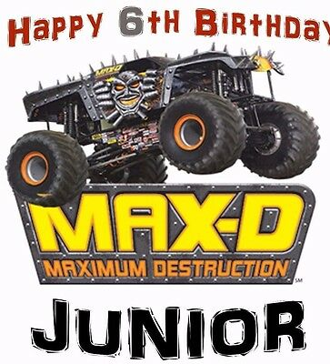 """MONSTER JAM MAX-D  Iron-On for a White T-shirt Personalized NAME & AGE 5""""X7"""""""