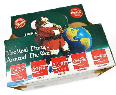 Coca Cola Coke Flaschen Träger USA Sixpack 6-Pack 1990 Arount the World Santa