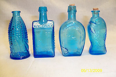 4 Mini Blue Glass Bottles Collectible