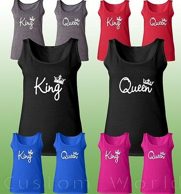 King & Queen Couple Tank Top His And Hers New Color Matching Tank Tops