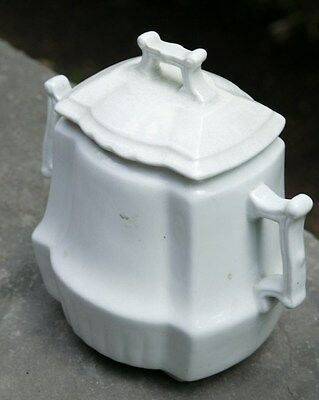 Johnson Brothers Square Ridged White English Ironstone Sugar Canister 1890's
