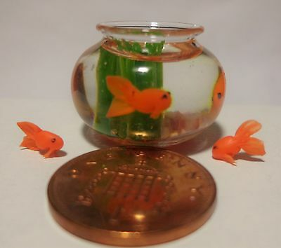 1:12 Dolls House Miniature  Fish Bowl & 3 Goldfish Accessory M2