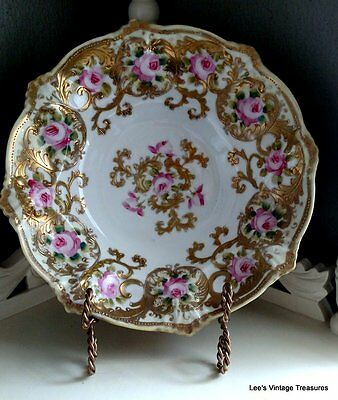 Antique HEAVY Gold Gilt Serving Bowl-Hand Painted roses-Stunning Victorian piece