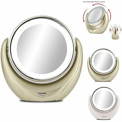 Girls Double-Sided LED Lighted Beauty Makeup Mirror Normal 1X 5X Magnification
