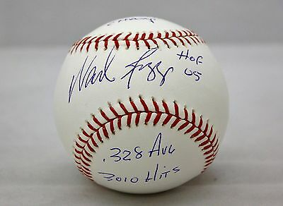 Wade Boggs Stat Autographed Rawlings OML Baseball- JSA W Authenticated
