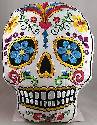SUGAR SKULL PILLOW white Day of the Dead skull-shaped embroidered new