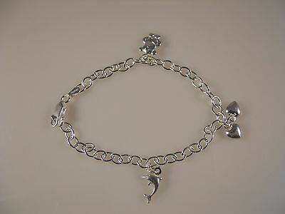 Fancy Style With Multi Charm Itailan Sterling Silver Bracelet