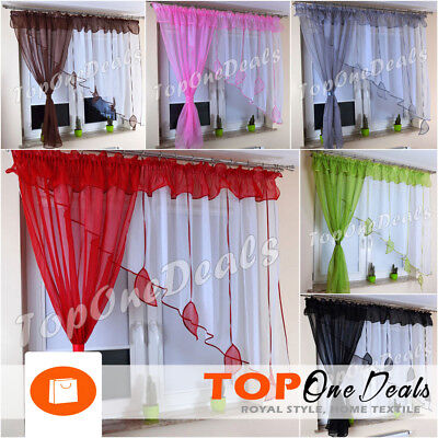 Amazing Voile Net Curtains With Leaves Ready Made Living Dining Room Bedroom