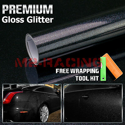 *High Gloss Glitter Black Sparkle Car Vinyl Wrap Sticker Decal Sheet Film DIY