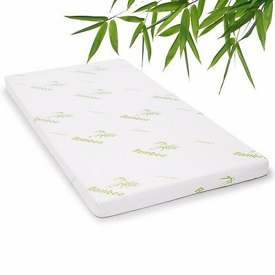 Cool GEL Memory Foam Mattress Topper Top Bamboo Fabric Cover 8cm Ecologic