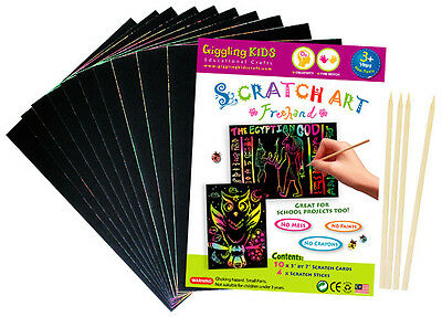 "New Kids Premium Small Plain Scratch Art Kit 5"" x 7"" (Pack of 10), Au Seller"