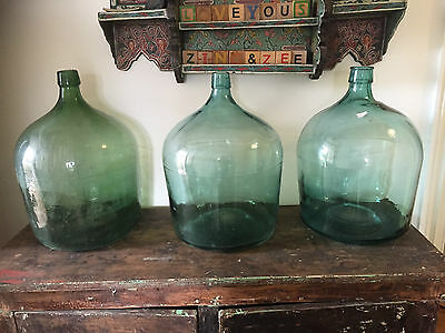vintage early century japanese glass demijohn large gree//turquoise