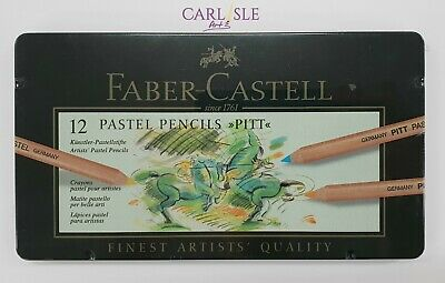 Faber-Castel PITT Pastel Pencils In A Metal Tin (12 Pack), Assorted Colours