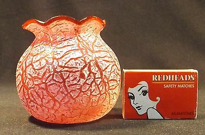 C.1900 Small Ruffle Edged Ruby Crackle Glass Squat Vase 2 Small Chips On Edge.