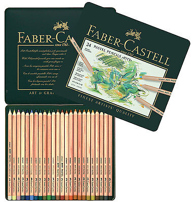 Faber-Castel PITT Pastel Pencils In A Metal Tin (24 Pack), Assorted Colours