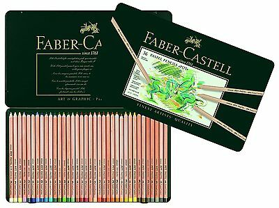 Faber-Castell PITT Pastel Pencils In A Metal Tin (36 Pack), Assorted Colours