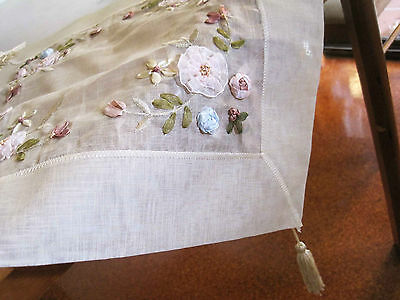 Beautiful Hand Silk Ribbon 3D Flower Embroidery Sheer Braid Doily Topper