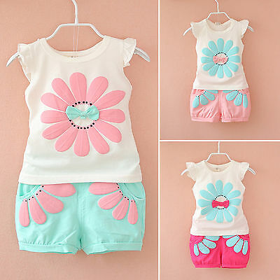 Toddler Kids Baby Girls Sunflower T-Shirt + Pants Shorts 2Pcs Outfit Clothes Set