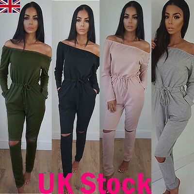Womens Off Shoulder Slit Knee Loungewear Jumpsuit Romper Ladies Jogging Set 6-14