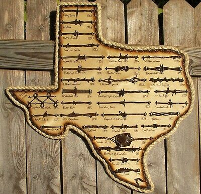 Large Antique Barbed Wire Display TEXAS 31 cuts of Authentic Barbwire