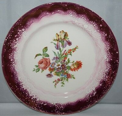 """Grays Pottery - 10 1/2"""" Pink Lustre Plate - Floral Spray - c1950 - vgc"""