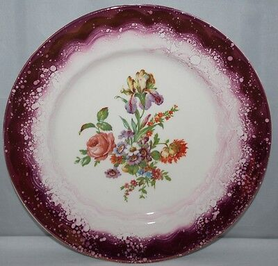 "Grays Pottery - 10 1/2"" Pink Lustre Plate - Floral Spray - c1950 - vgc"
