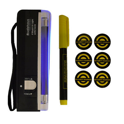 Safehaus Property Marking Kit Ultra Violet Pen & UV Torch Lamp Security Stickers