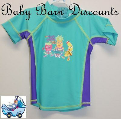 Bright Bots - Size 1 - Short Sleeve Rashie - Tutti Fruitie - Aqua/Purple