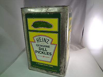 Heinz Pickles Vintage 5 Gal Tin Can  Advertising Rare Collectible  354-F