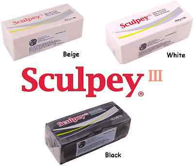 Sculpey III Polymer Clay 1 Pound CHOOSE White Black or Beige